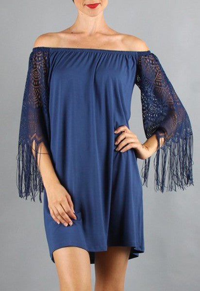 FARRAH OFF SHOULDER DRESS (Blue)- VD9215