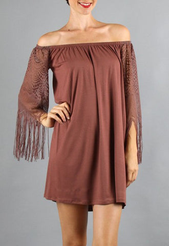 FARRAH OFF SHOULDER DRESS (Brown)- VD9215