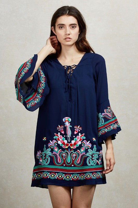 KALONICE TUNIC DRESS (Navy)-CVD1512