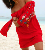ENGLEBERTA OFF THE SHOULDER DRESS(Red)-CVD1543
