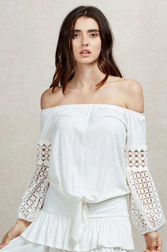 NATHASHA OFF THE SHOULDER  TOP (Off White)-VT1821