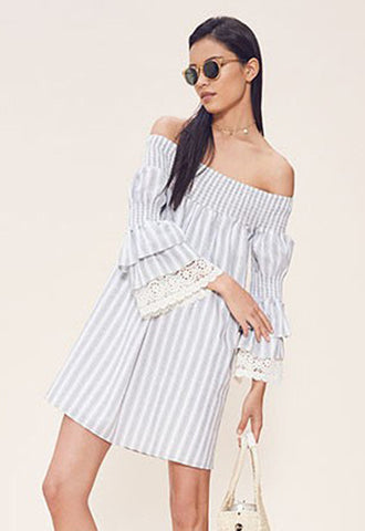 ENISSA OFF SHOULDER DRESS (Grey)-VD1804