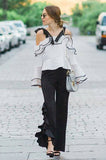 ROMANIE ONE SIDE SPLIT PANTS (Black)-VP1814