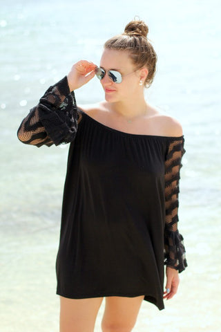 COLLEEN OFF SHOULDER DRESS(BLACK)-VD9344
