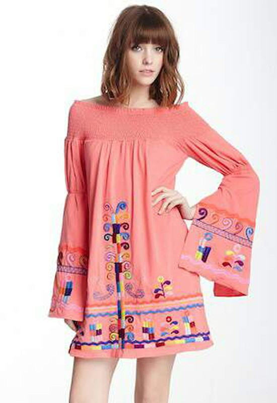 DARA OFF SHOULDER DRESS (CORAL)-CVD6606