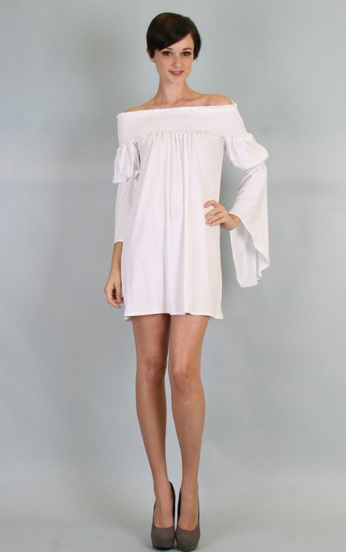 AUBREY OFF SHOULDER DRESS (White)-JD7099