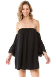 SOLID FABIOLA OFF SHOULDER DRESS (BLACK)- CVD1705S