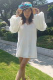 ALANA BUBBLE SLEEVE DRESS (OFF WHITE)- CVD2091E