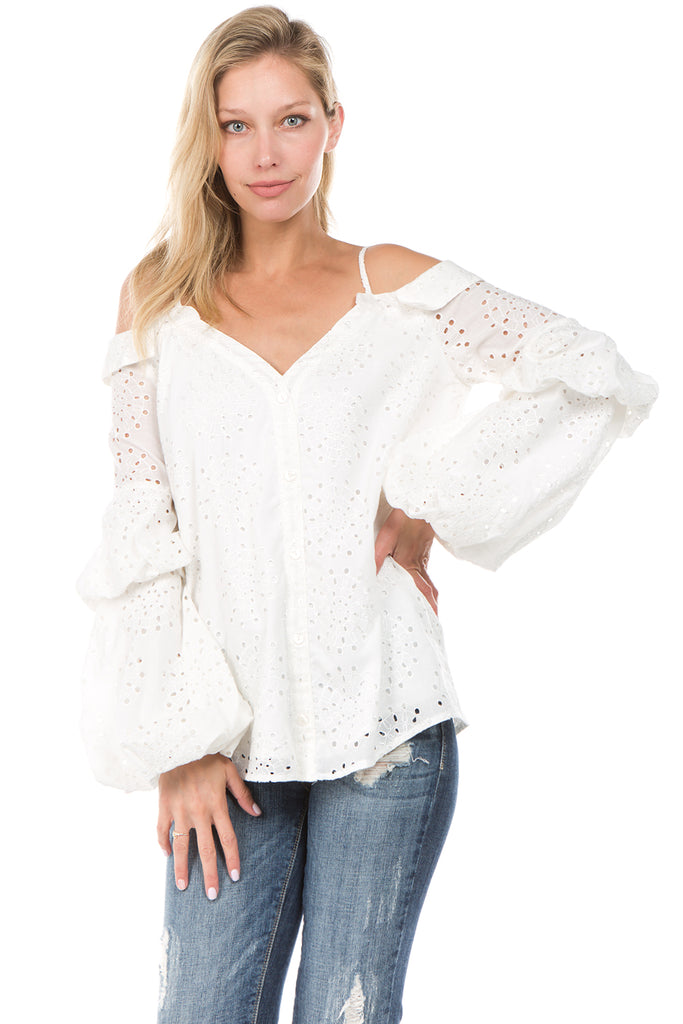 ALANA BUBBLE SLEEVE TOP (Off White)- CVT2090E