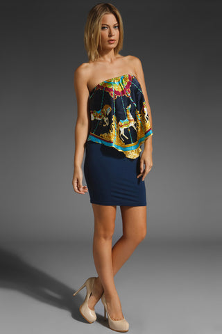 CAROUSEL TUBE DRESS (NAVY)- D7411