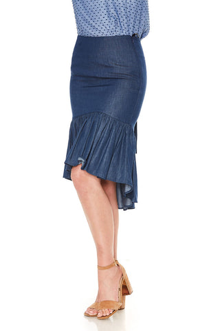 FRANCES MIDI SKIRT (Denim)- VS2031