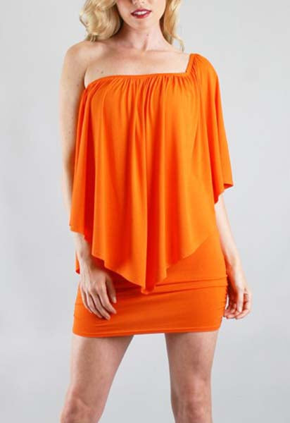 MINA CONVERTIBLE DRESS (WHITE, TANGERINE)-JD7081