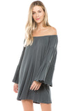 JENNA OFF SHOULDER DRESS (CHARCOAL)-JD7461
