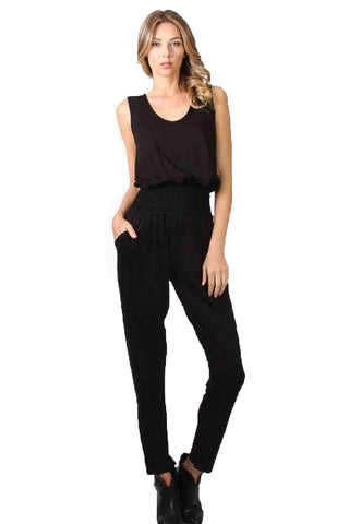 CLAUDETTE SLIM JUMPSUIT (Black)-JD9475