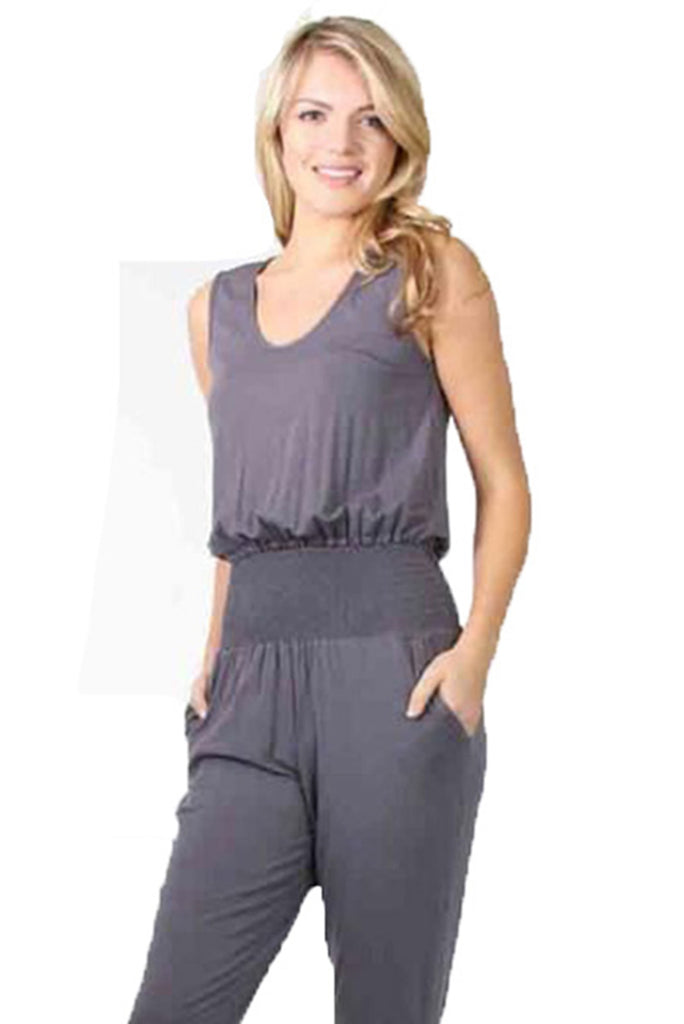 CLAUDETTE SLIM JUMPSUIT (Grey)-JD9475