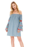 JOEY OFF SHOULDER DRESS (Denim)-CVD1836