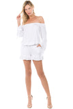 SAGE OFF SHOULDER ROMPER (WHITE)-JR9743