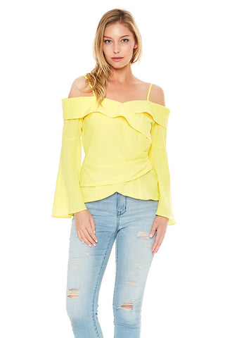JULIET OFF SHOULDER TOP (Yellow)-VT2107