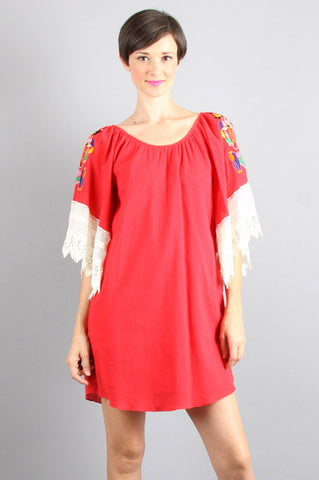 LUCIA SMOCK  DRESS (RED)-CVD8853