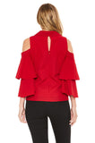 MABEL OPEN SHOULDER TOP (Red)-VT2059