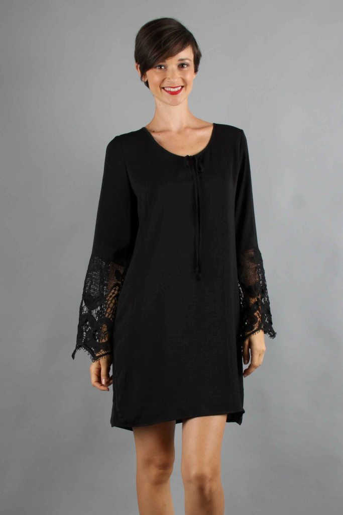 NINA BELL SLEEVE DRESS (BLACK)-VD9275