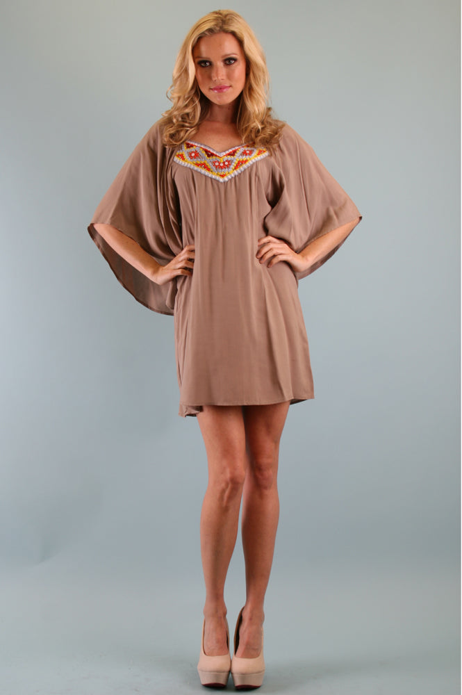 OLIVIA SMOCK DRESS (TAUPE)-CVD7926