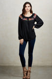 BRITNEY LONG SLEEVE BLOUSE(BLACK) -CVT1482