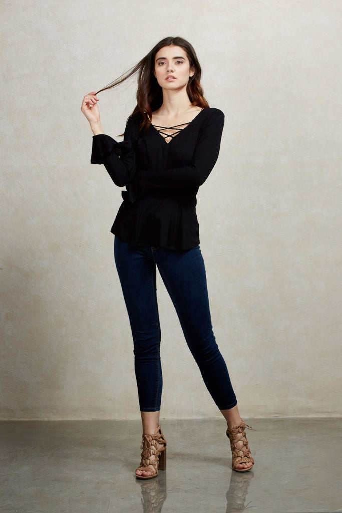 ORLANTHA BELL SLEEVE TOP (AVAILABLE IN VARIOUS COLORS)-VT1553