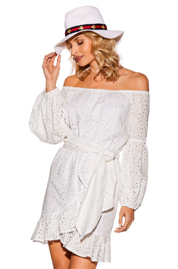 ALANA OFF SHOULDER DRESS (White)- VD2080