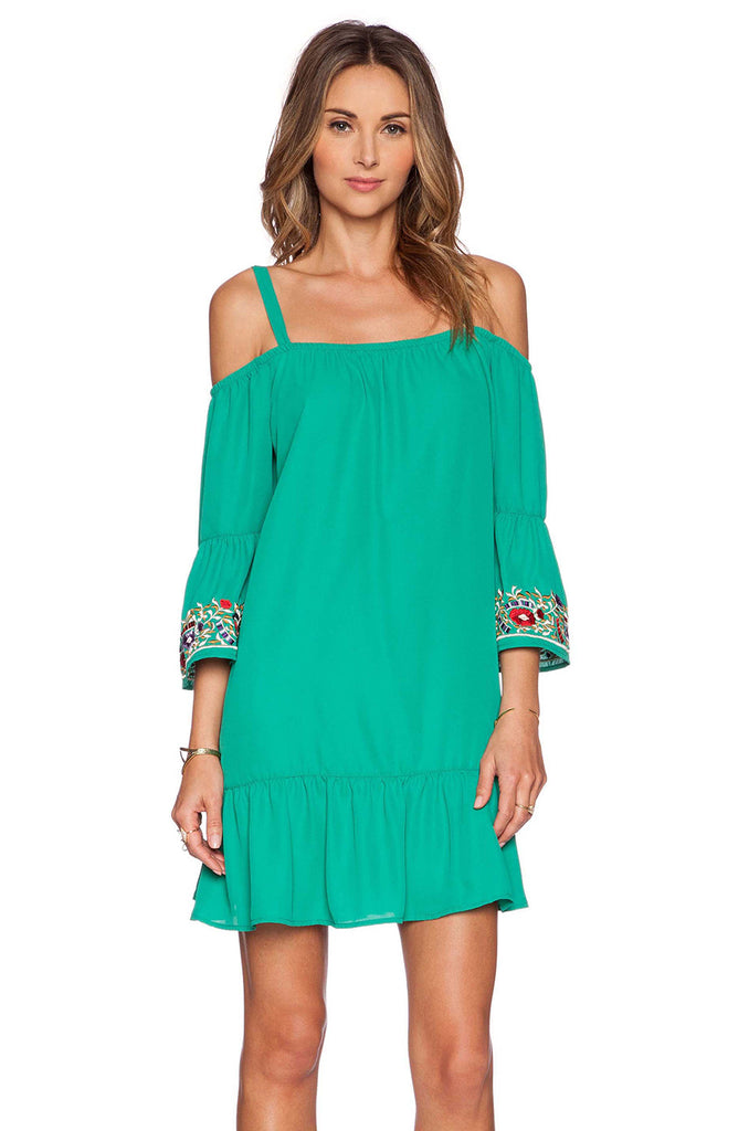 Rowena Cold Shoulder Dress (Teal)-CVD9459