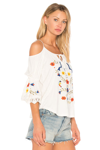 FABIOLA OPEN SHOULDER TOP (White)-CVT1704