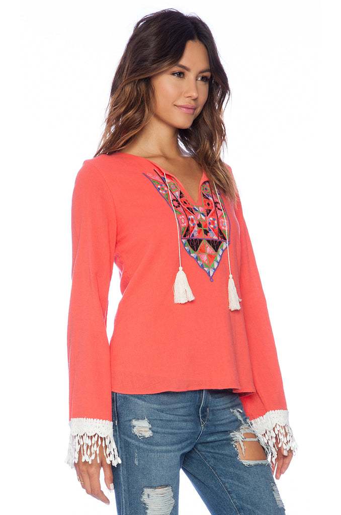 TERESA LONG SLEEVE TOP (CORAL)-CVT8993