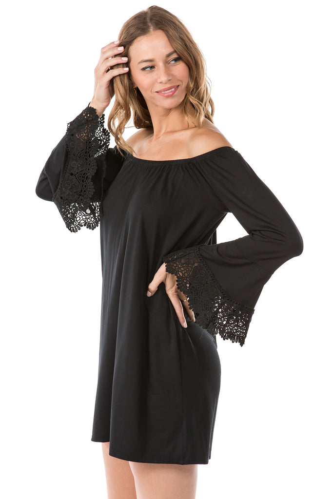 PRUNELLA OFF SHOULDER DRESS (BLACK)- VD1096