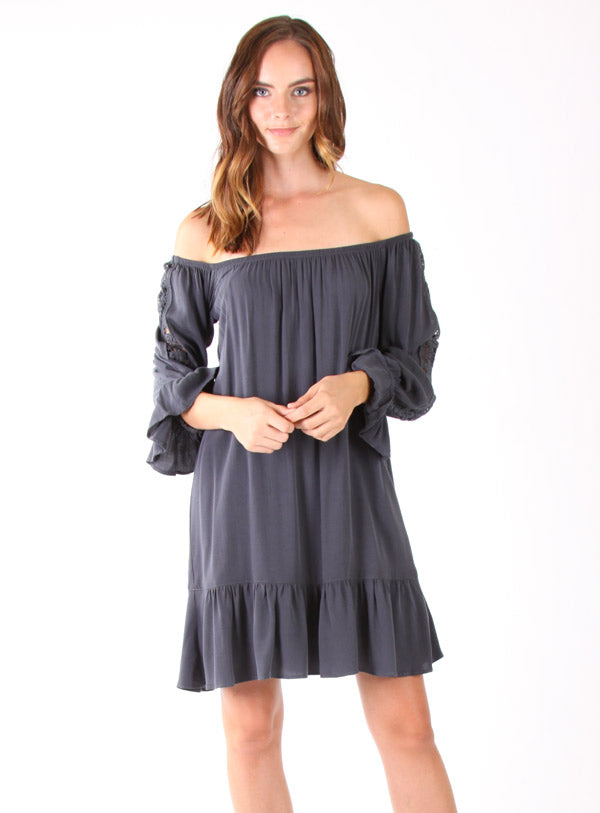 DACIA OFF SHOULDER DRESS(CHARCOAL)- VD1122