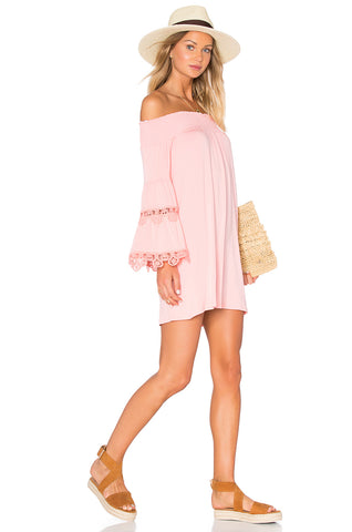 BAMBI OFF THE SHOULDER MINI DRESS (PEACH)-VD1235