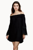 BAMBI OFF THE SHOULDER MINI DRESS (BLACK)-VD1235