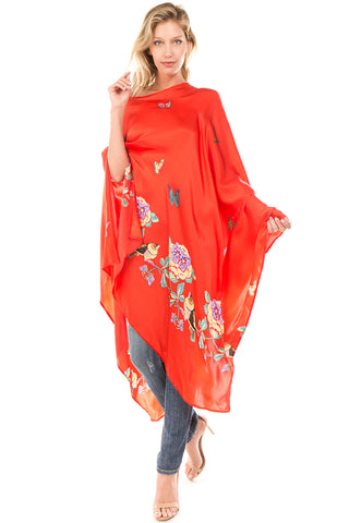 PONCHO SILK DRESS (Red)- VD1642