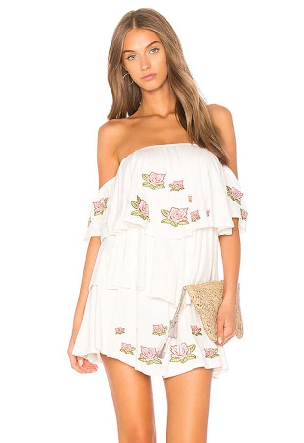 ROESIA OFF SHOULDER DRESS (Off White)-CVD1689