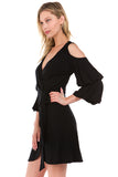 LEILANI WRAP DRESS (Black)- VD2193