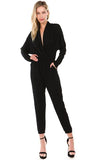 BROOKLYN LONG SLEEVE JUMPSUIT (BLACK)- VD2202