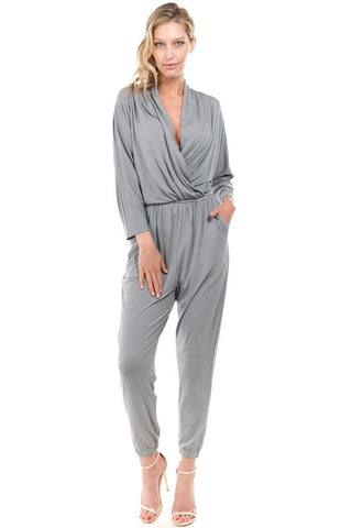 BROOKLYN LONG SLEEVE JUMPSUIT (GREY)- VD2202
