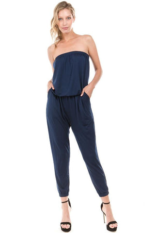 BROOKLYN STRAPLESS JUMPSUIT (Navy)- VD2203