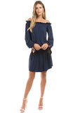 SLOANE OFF SHOULDER DRESS (NAVY)-VD2351