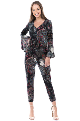 CATHY LONG SLEEVE JUMPSUIT (Black Multi) - VD2395-CATHY