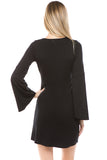 CROSELLA BELL SLEEVE DRESS (BLACK)-VD2416