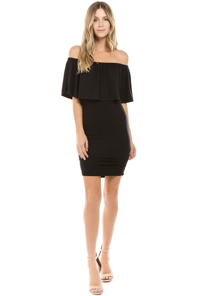 CROSELLA OFF SHOULDER DRESS(BLACK)- VD2417
