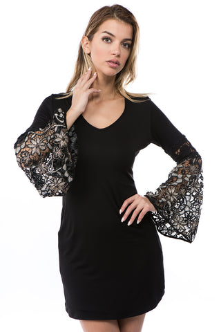 KINSEY BELL SLEEVE DRESS(BLACK)- VD2438G