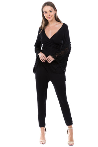 LOUISA BELL SLEEVE JUMPSUIT (Black) - VD2540
