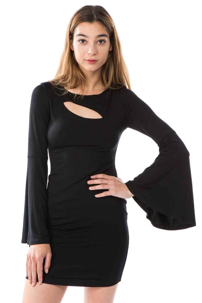 JULLIE BELL SLEEVE DRESS (BLACK)- VD2587