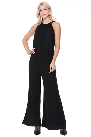 VERONICA HALTER JUMPSUIT (Black) - VD2605